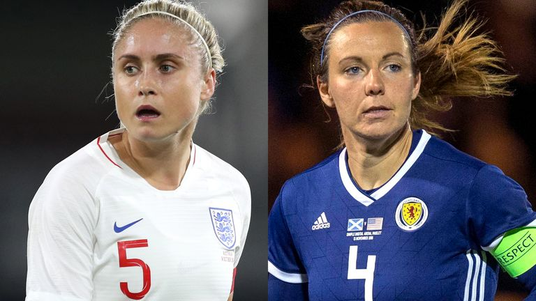 England's Steph Houghton and Scotland's Rachel Corsie are set to face each other