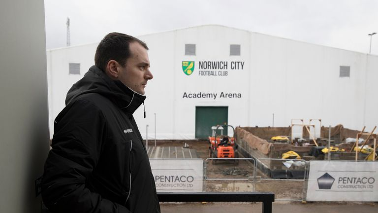 Stuart Webber looking over building work at the club's academy