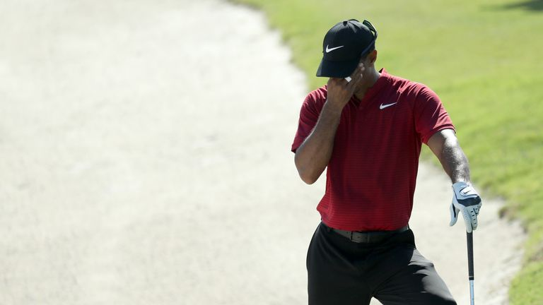 Woods was four over at the turn after four bogeys