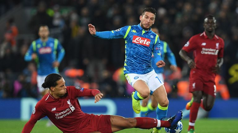 Virgil van Dijk was shown yellow for a foul on Napoli's Dries Mertens