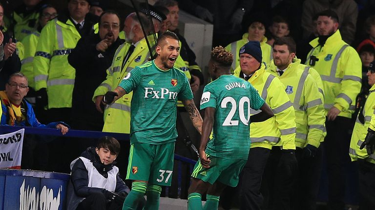 Watford's Roberto Pereyra celebrates with Domingos Quina