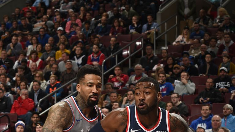 PHILADELPHIA, PA - NOVEMBER 30: John Wall #2 of the Washington Wizards handles the ball against the Philadelphia 76ers on November 30, 2018 at the Wells Fargo Center in Philadelphia, Pennsylvania NOTE TO USER: User expressly acknowledges and agrees that, by downloading and/or using this Photograph, user is consenting to the terms and conditions of the Getty Images License Agreement. Mandatory Copyright Notice: Copyright 2018 NBAE (Photo by David Dow/NBAE via Getty Images)