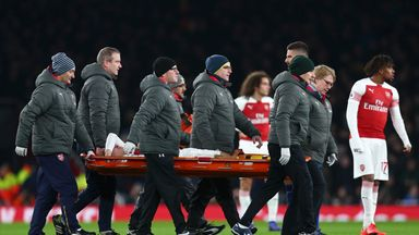 Hector Bellerin was stretchered off during Arsenal's game against Chelsea on Saturday