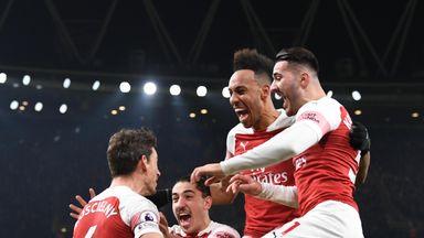Laurent Koscielny celebrates scoring Arsenal's second goal