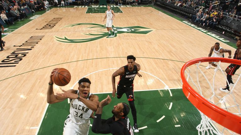 Giannis Antetokounmpo attacks the rim against Miami
