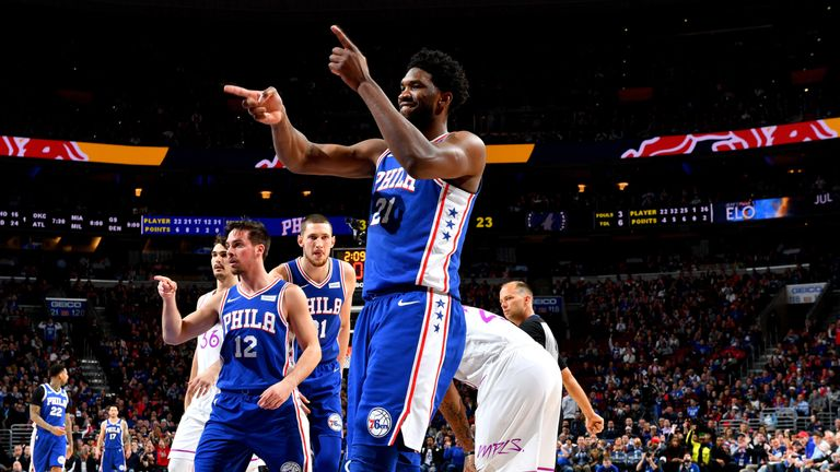 Joel Embiid salutes the crowd after scoring against Minnesota