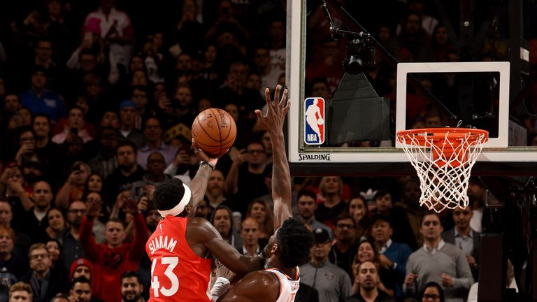 Pascal Siakam scores with a finger roll at the buzzer to earn Toronto a 111-109 win over Phoenix