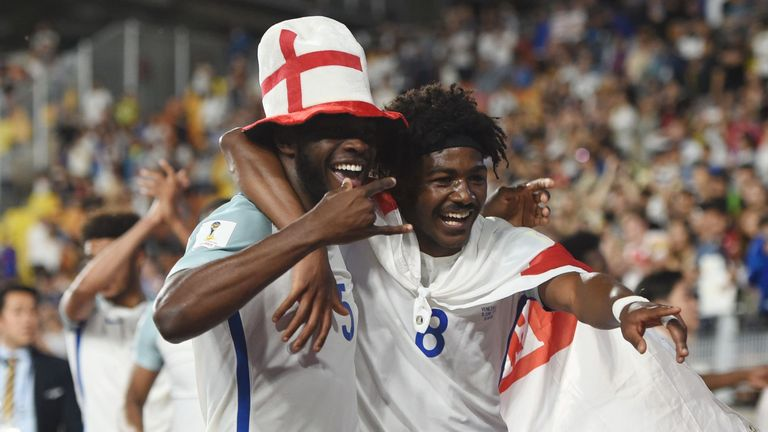 Maitland-Niles (R) was part of the England U20 squad that won the World Cup