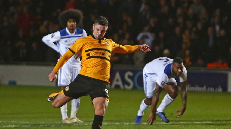 Padraig Amond fires in Newport's winner with five minutes remaining