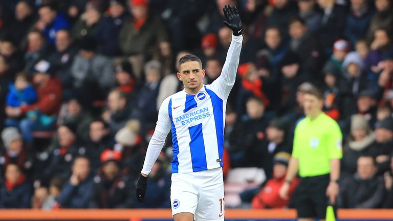 Anthony Knockaert celebrates scoring against Bournemouth in the FA Cup