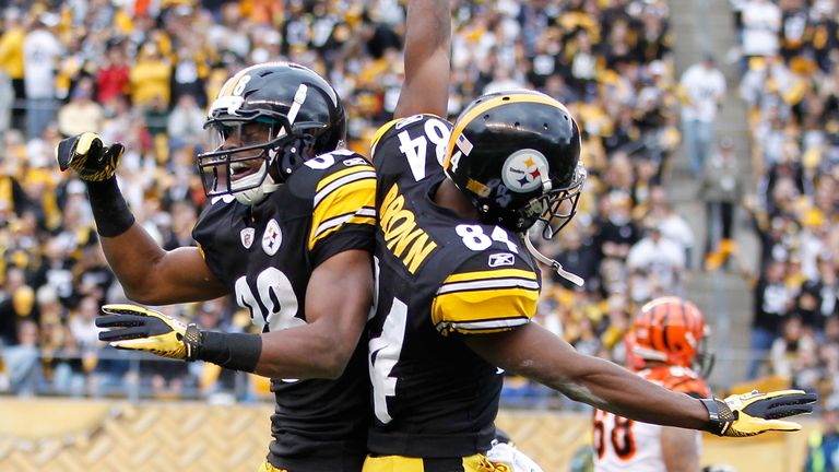 Emmanuel Sanders (L) and Antonio Brown (R) were team-mates in Pittsburgh