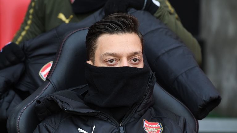 Ozil started on the bench when the two sides met in December