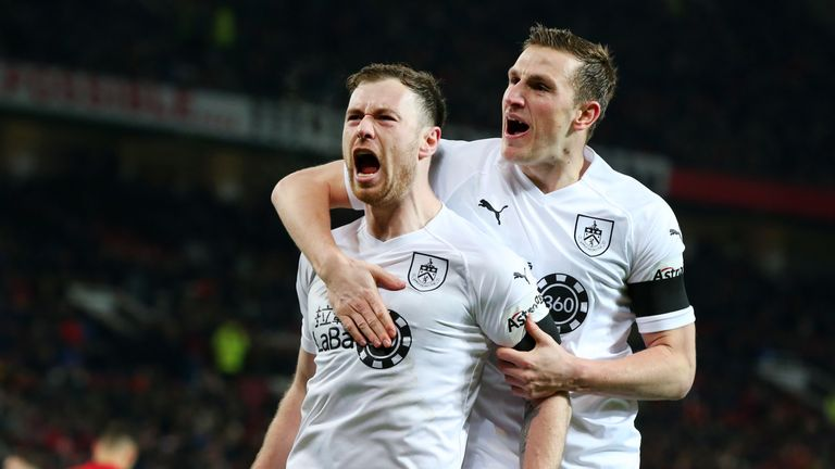Ashley Barnes celebrates after Burnley take the lead at Old Trafford