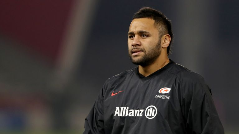 Saracens Billy Vunipola warms up ahead of his return against Sale