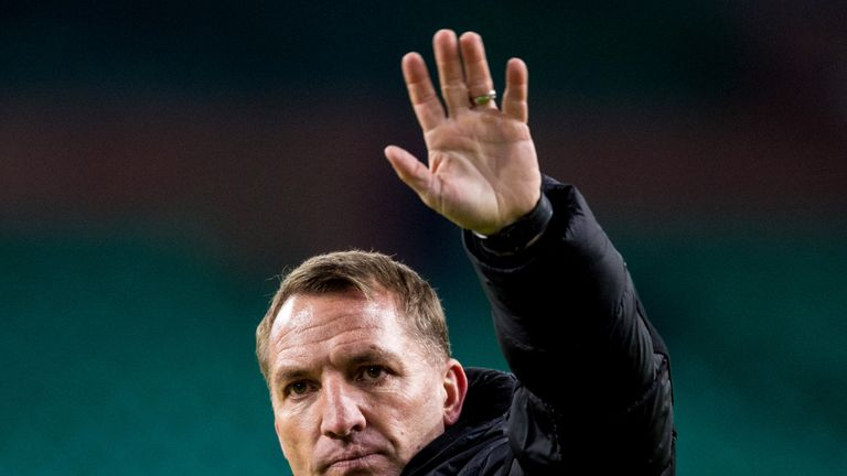 Brendan Rodgers applauds the fans at full time