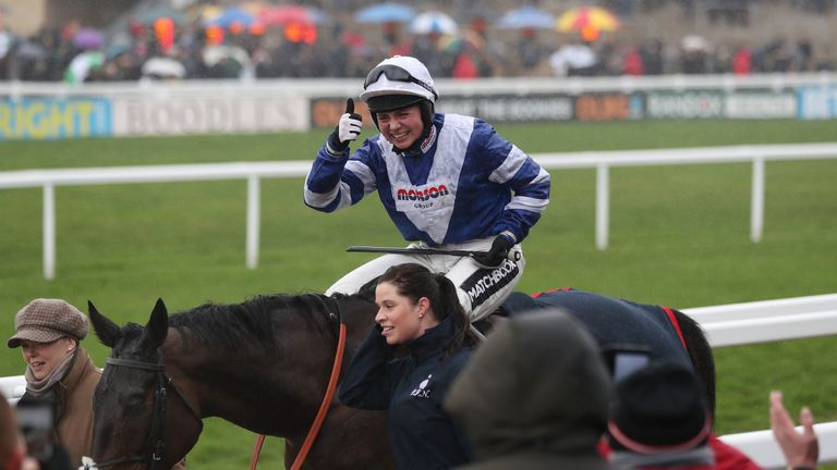 Bryony Frost celebrates her victory on Frodon in the BetBright Trial Cotswold Chase