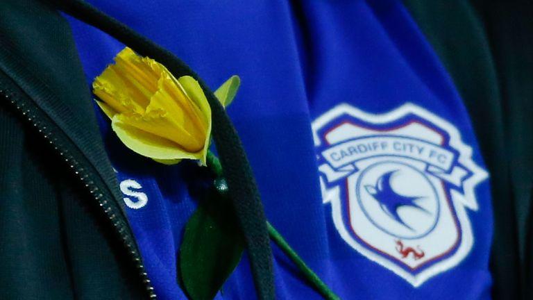 A Cardiff fan wears a yellow daffodil in honour of missing striker Sala