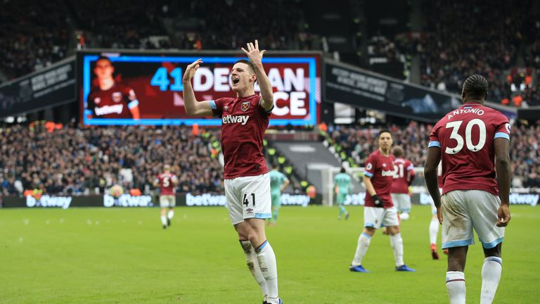Declan Rice celebrates after giving West Ham the lead