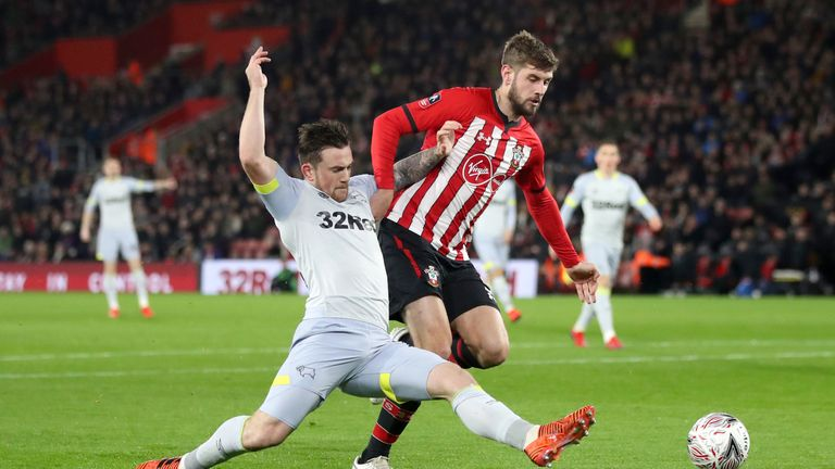 Derby County's Jack Marriott (left) and Southampton defender Jack Stephens battle for the ball