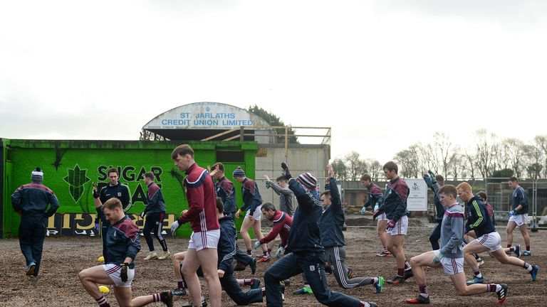 Winter football: Galway players warm up before their clash with Mayo