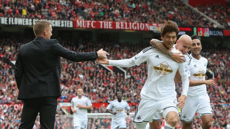 Swansea enjoyed a memorable victory at Old Trafford in August 2014