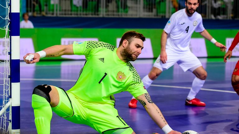 Russia's Georgi Zamtaradze saves at last year's European Futsal Championship