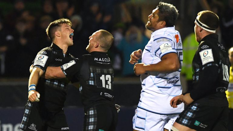 George Horne (left) celebrates his late try against Cardiff Blues