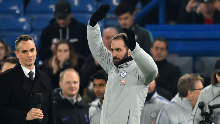 Gonzalo Higuain was introduced to the Chelsea fans before Thursday's match with Tottenham