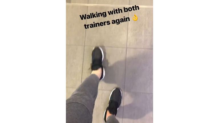 Harry Kane posted a shot of himself on Instagram walking unaided