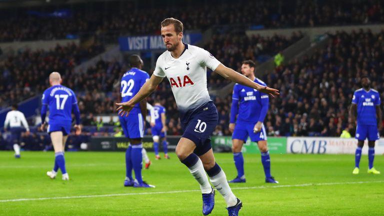 Harry Kane celebrates his goal against Cardiff