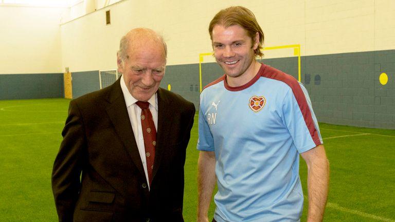 Hearts great Freddie Glidden (left) alongside former manager Robbie Neilson