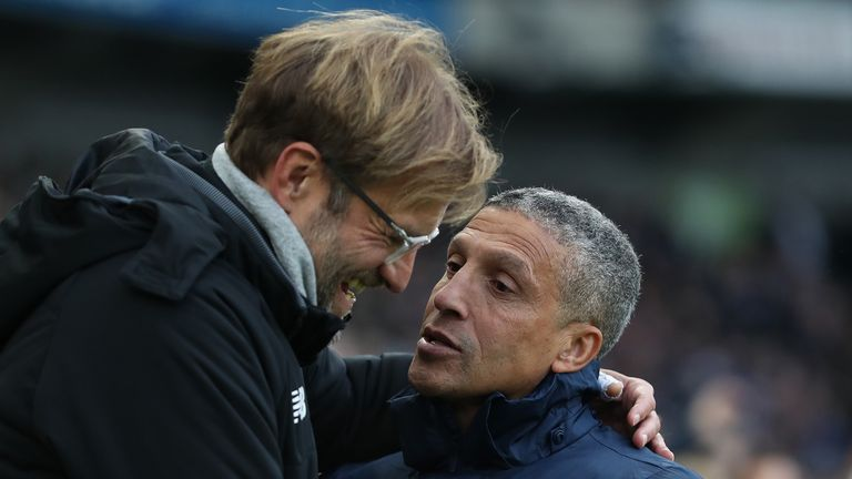 Jurgen Klopp will be hoping Brighton can do Liverpool a huge favour by taking points off Man City