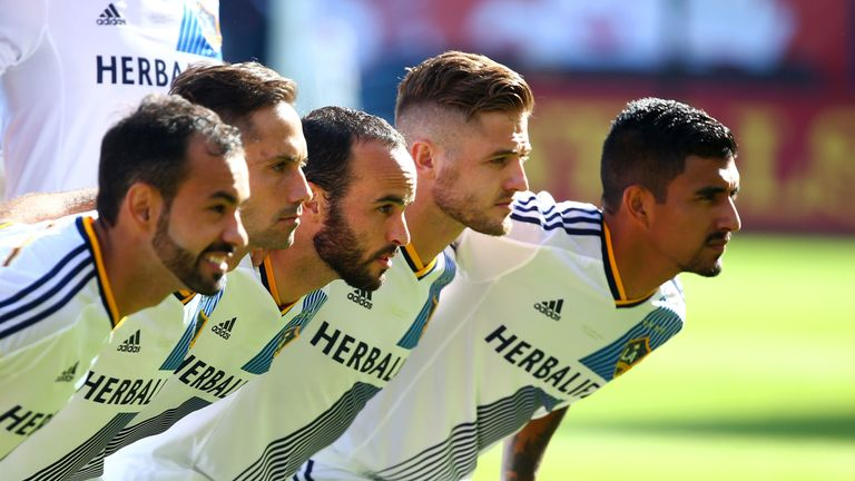 Robbie Rogers (second from right) returned to the game with Los Angeles Galaxy in 2013 after leaving England, and was an MLS Cup winner the following year