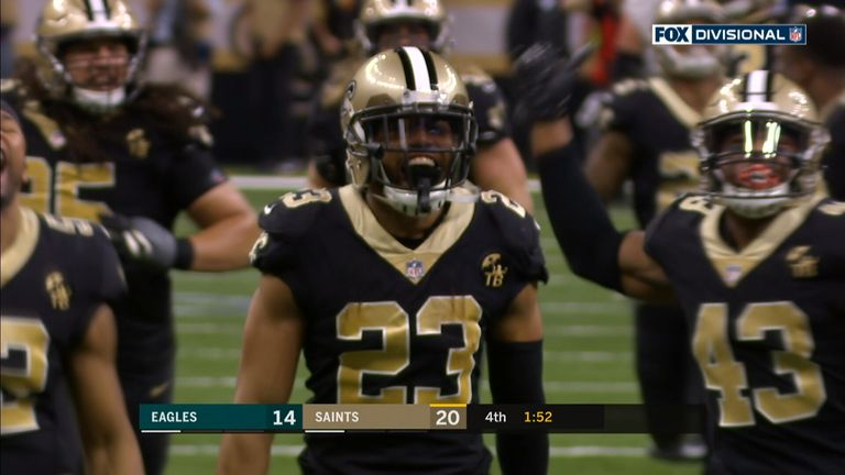 Marshon Lattimore intercepts a Nick Foles pass in the final minutes of the New Orleans Saints victory over the Philadelphia Eagles in the NFC Divisional Playoff