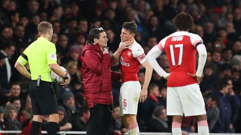 Koscielny suffered a suspected broken jaw in the 3-1 defeat to Manchester United