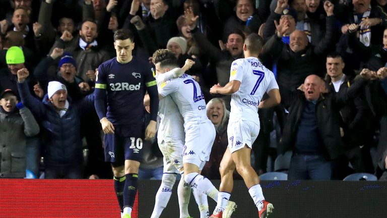Leeds United's Jack Harrison (centre) celebrates scoring his side's second goal of the game