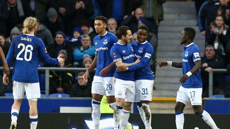 Ademola Lookman celebrates his opener as Everton beat Lincoln