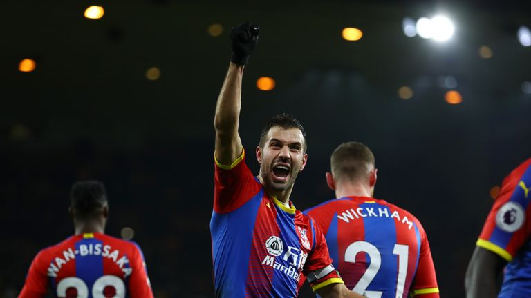 Luka Milivojevic celebrates after scoring from the spot
