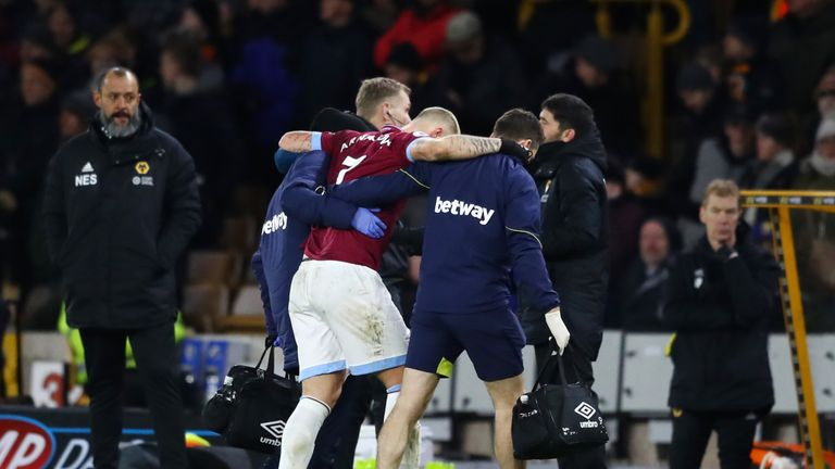 Marko Arnautovic limped out of West Ham's defeat to Wolves