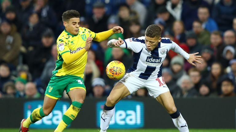 Max Aarons (left) in action for Norwich
