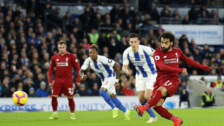 Mohamed Salah puts Liverpool ahead from the penalty spot