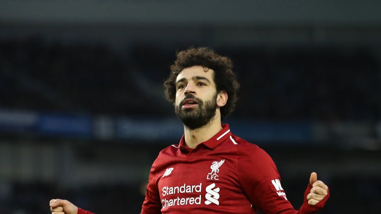 Mohamed Salah celebrates after putting Liverpool ahead from the spot