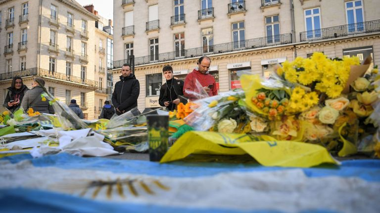 Members of the public have been paying their respects to Sala in Nantes