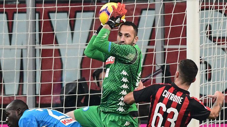 David Ospina gathers the ball during Napoli's 0-0 draw at AC Milan