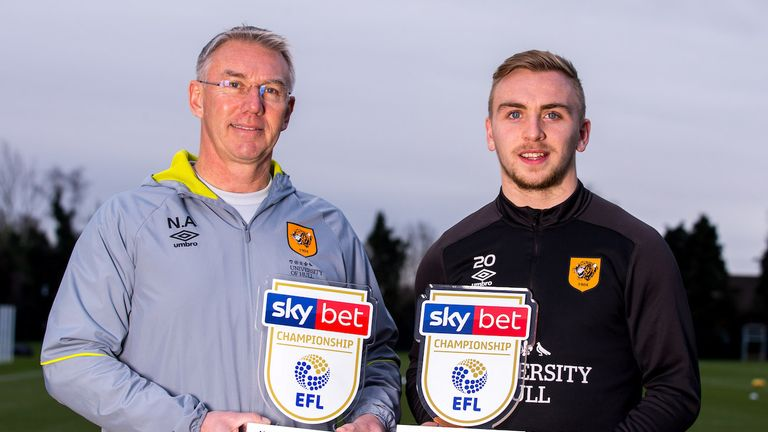 Hull City duo Nigel Adkins and Jarrod Bowen are the Sky Bet Championship Manager and Player of the Month