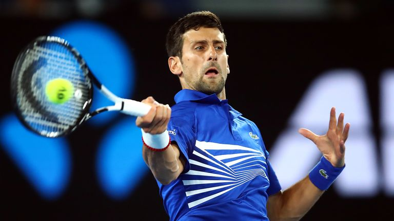 Novak Djokovic of Serbia in action against Daniil Medvedev of Russia in the mens fourth round match during day eight of the 2019 Australian Open at Melbourne Park on January 21, 2019 in Melbourne, Australia