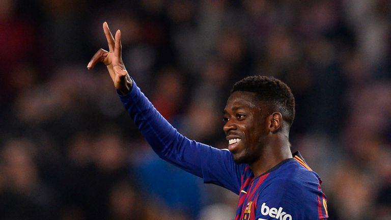 Ousmane Dembele scored twice for Barcelona