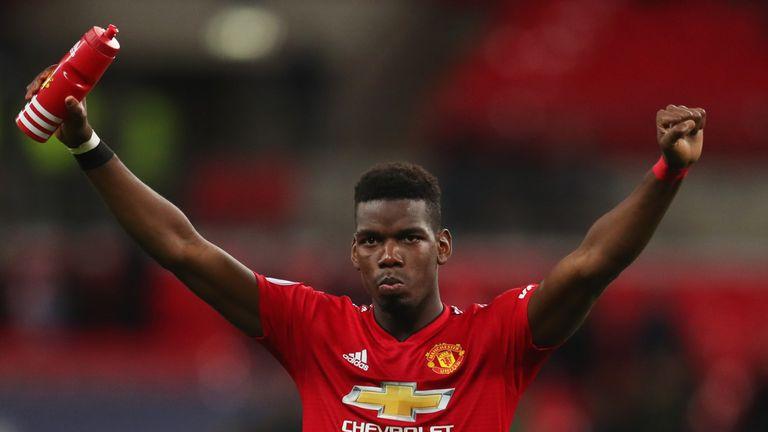 Paul Pogba celebrates victory over Tottenham