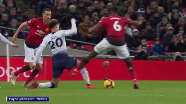 Pogba (right) catches Alli with a high boot at Wembley, but was it worthy of a red?