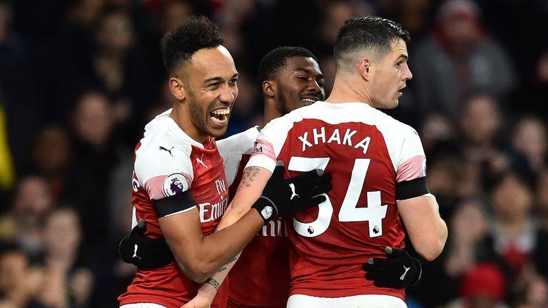 Pierre-Emerick Aubameyang celebrates scoring Arsenal's fourth goal